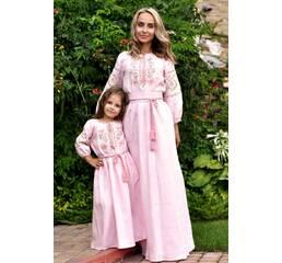 Нежный комплект платьев для мамы и дочки с цветочным орнаментом Модель: П16/14-278 и ДП14-278