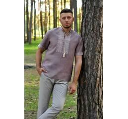 Льняна сорочка з вишивкою для стильного чоловіка Модель: М08к-286