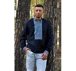 Чоловіча сорочка з льону глибокого синього кольору з виразною вишивкою Модель: М07/1-293