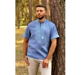 Чоловіча дизайнерська вишиванка з блакитного льону Модель: М16к-273