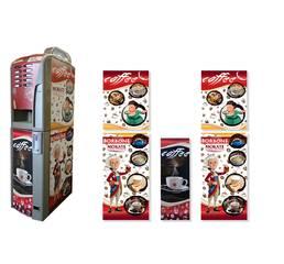 Брендированная наклейка на кофейный автомат Saeco Rubino 200, красный