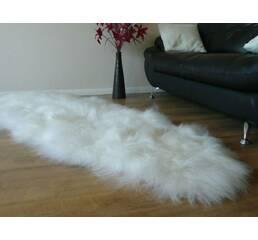 Килим з 2-х овечих шкур (білий, довгошерста новозеландська овчина)