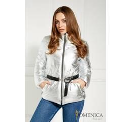 Демисезонная серебристая курточка приталенного силуэта (серебро)