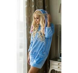 Затишна домашня сукня Зайчик (блакитний)