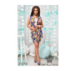 Юбочный костюм с жилетом  (электрик принт цветы) - 21310