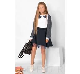 Школьная блуза в горошек