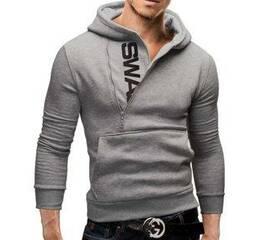 Мужская толстовка SWAN с косым воротом M-XXL серый код 74