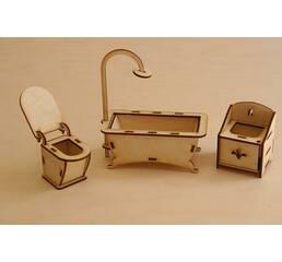 Мебель для кукольного домика Набор - Ванная комната