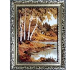 """Картина з бурштину """"Берези біля річки"""""""