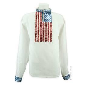 Сорочка вишиванка з американським прапором
