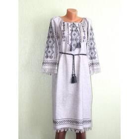 Сукня вишита на сірому полотні, ручна робота