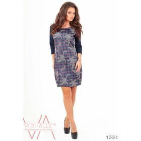 Стильное Силуэтное Платье С Рисунком (Синий) 1331_2
