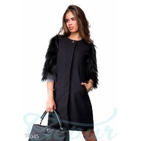 Пальто из кашемира с меховыми рукавами (черный)