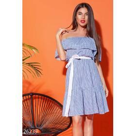 Открытое летнее платье (сине- белый)