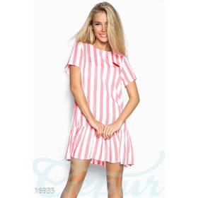 Полосатое игривое платье (белый, полоски - красный)