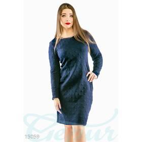 Изысканное фактурное платье (темно-синий)