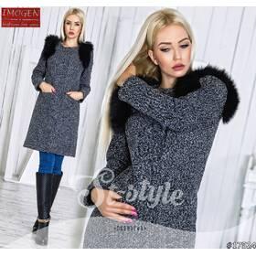 Пальто со съёмными рукавами 17524 (серый)
