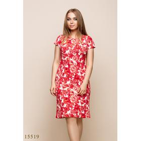 Женское платье 15519 белый принт красный цветы