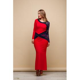 Женское длинное платье большого размера Мирослава красный