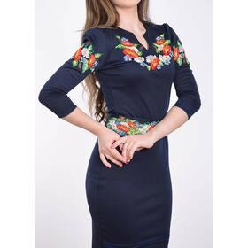 Трикотажна сукня вишиванка темно-синє ціна a75345a3b4044