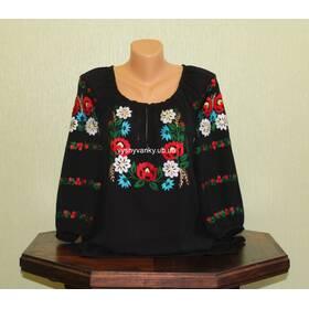 Вышиванка женская с цветами на черном шифоне. Ручная работа.