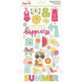 Чипборд від Simple Stories 15*30см - Sunshine & Happiness (812247028545)