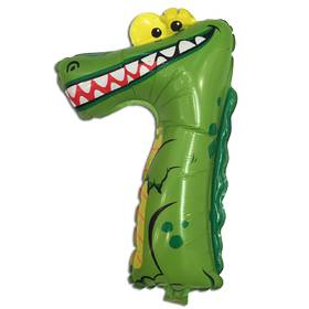 "Шарик из плёнки "" Цифра семь - крокодил "" , 29 х 47 см."