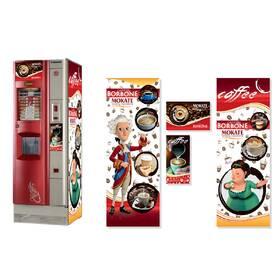 Брендована наклейка на кавовий автомат Saeco Quarzo 500, червоний