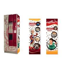 Брендована наклейка на кавовий автомат Saeco Cristallo 400, червоний
