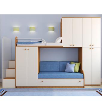 Двухъярусные кровати с диваном внизу купить предлагает Smart Mebel!