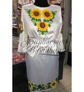 """Вышитое платье с подсолнухами покупайте от компании """"Барвиста вышиванка""""."""