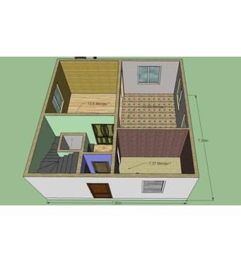Дом 7,3 на 7,3 м. 2 этажа. Площадь 106 м2. Планировку можно изменить