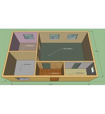Дом 6 на 10 м. Проект Колибри. Кухня-студия, 2 комнаты, санузел, прихожая