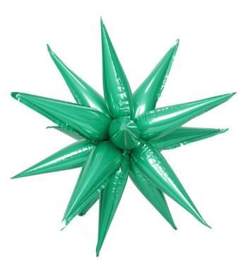 Фольгированный куля їжачок (складений) зелений, 12 променів (у упаковці)