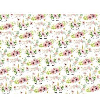 """Подарунковий папір для упаковки  """"Одноріг квіти"""", 5 шт/уп"""