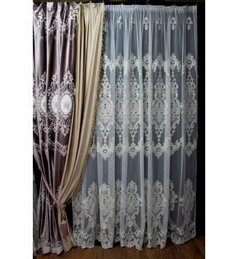 Комплект бархатных штор с накладным цветком и тюль корона  в гостиную, зал