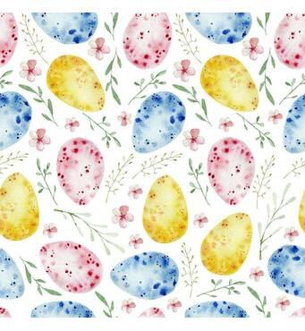 Декоративная ткань разноцветные пасхальные яйца с веточками и цветочками 280см