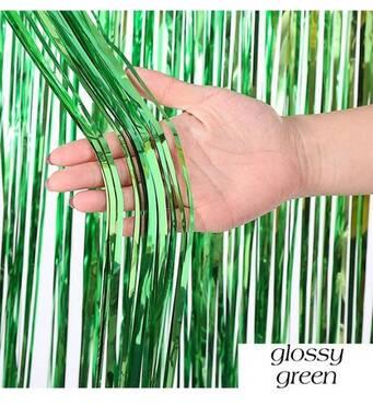 Шторка занавес из фольги для фото зон зелёная 1х3 метра