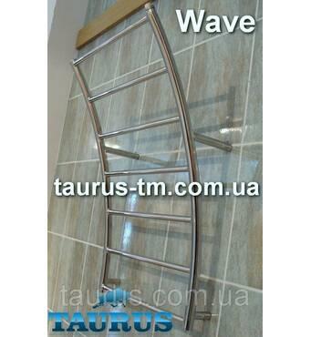 """Полотенцесушитель з нержавіючої сталі Wave 8 перемичок, стойки у формі хвилі. Водяний, підключення 1/2"""" 400"""