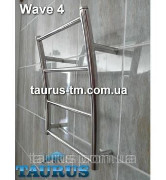 """Маленький полотенцесушитель з н/же стали Wave 4 вигнутий у формі хвилі. Водяний; Підключення 1/2"""" Taurus 400"""