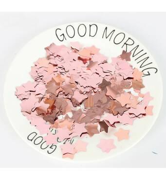 Конфетті зірочки рожеве золото 15 мм, 1 кг (Китай)
