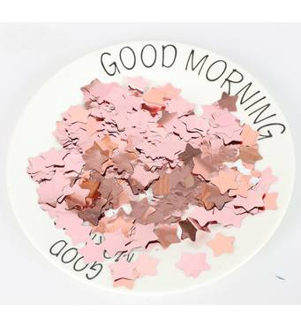 Конфетти звездочки розовое золото 15 мм, 1 кг (Китай)