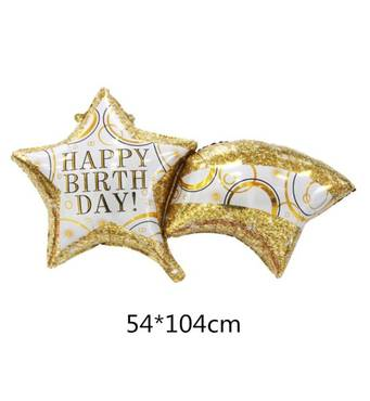 Фольгированный шар Комета Happy Birthday 54х104 см (Китай) в упаковке