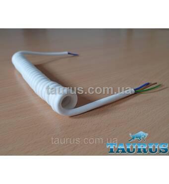 Кабель спиральный белый длинный White Long с заземлением. Длина от 1,1 до 6 м. Медь 3х0.75; до 2000W