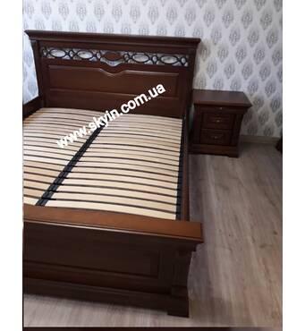 Дубовая двуспальная кровать Элеонора с резьбой
