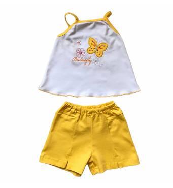 Комплект топ + шорти з вишивкою інтерлок для дівчинки