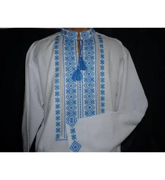 Чоловіча вишита сорочка  ручної роботи  з голубим орнаментом