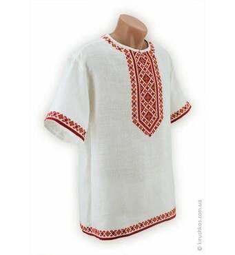Белая летняя мужская вышиванка с яркой гуцульской вышивкой