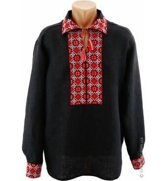 Черная льняная вышиванка с яркой красно-белой традиционной вышивкой