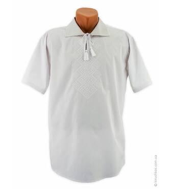 Летняя вышиванка белым по белому с богатырским узором